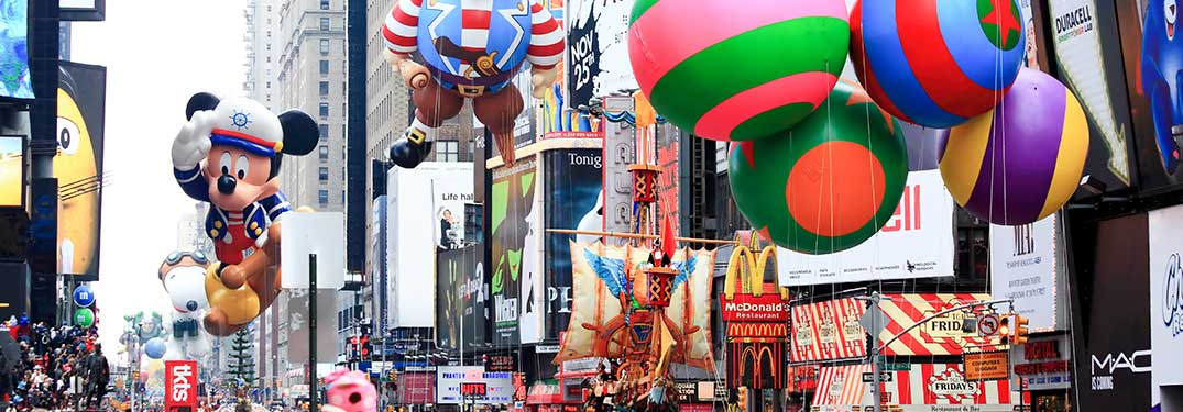 Thanksgiving Parade with Floats and Balloons