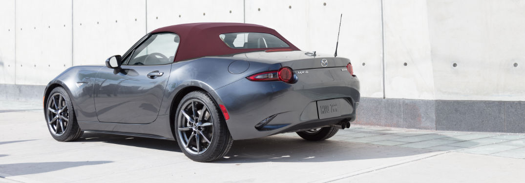 2018 Mazda MX-5 Miata Exterior View in Gray with Cherry Top