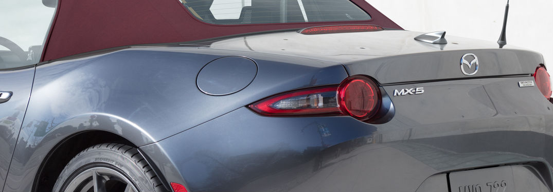 2018 Mazda MX-5 Miata Close Up of Rear End in Gray with Cherry Soft Top