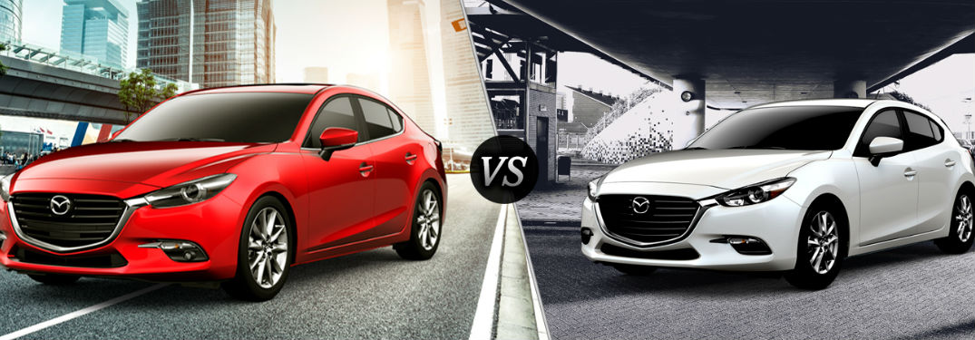 2018 Mazda3 4-Door in Red vs 2018 Mazda3 5-Door in White
