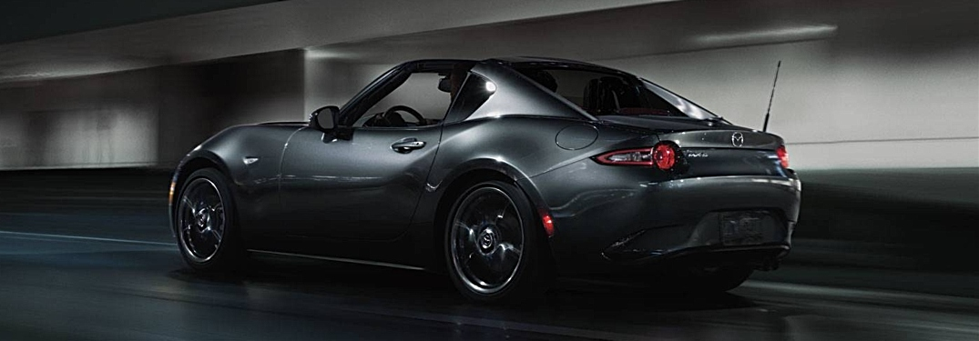 2019 Mazda MX-5 Miata RF gray side back view