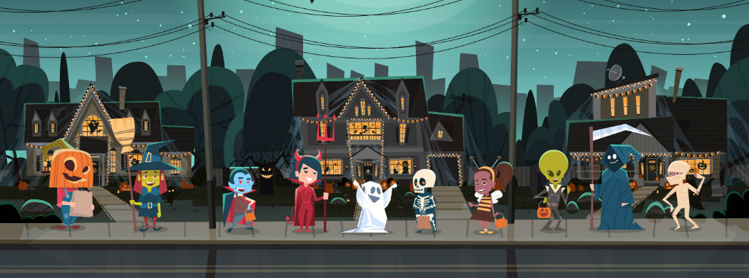 An illustration of kids trick-or-treating on a street in front of homes.