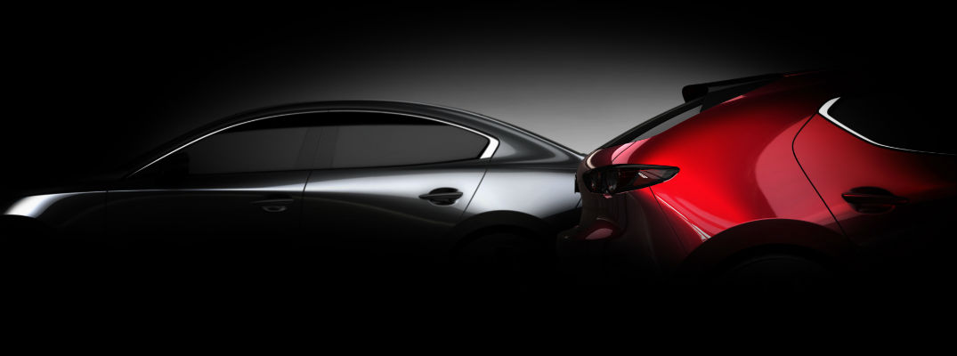 A photo of the redesigned Mazda3 in silhouette.