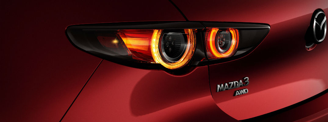 A close up photo of the Mazda3 badge on the redesigned platform.