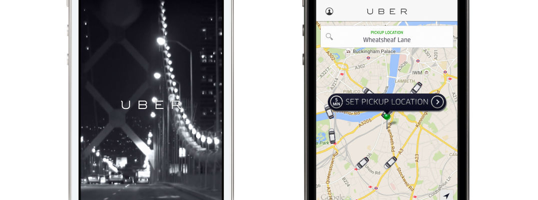 A photo illustration of a smartphone with the Uber app open.