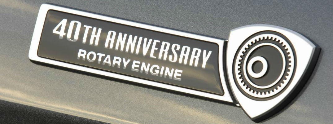 A photo of a special rotary engine badge worn by some Mazda vehicles in the past.