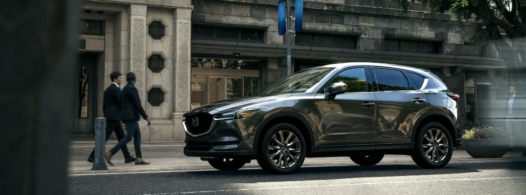 A left profile photo of the 2019 Mazda CX-5 on the street.