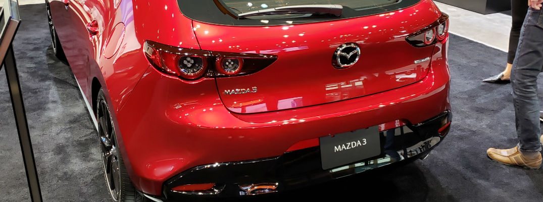 A photo of the rear of the 2019 Mazda3 hatchback.