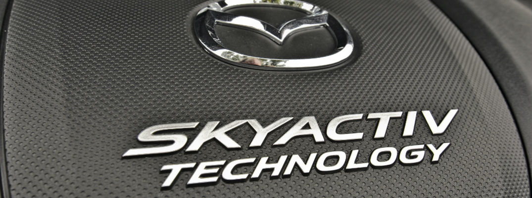 A photo of the SKYACTIV Technology label used on the automaker's engines.