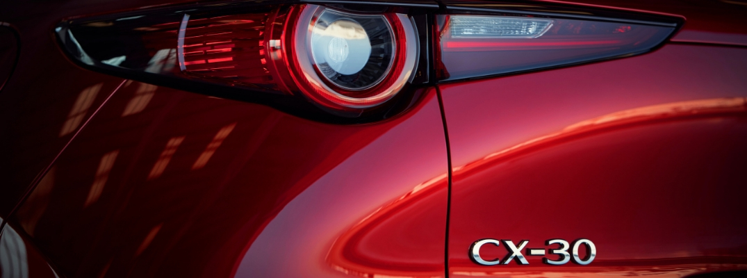 Close Up of 2019 Mazda CX-30 Taillight and Badge