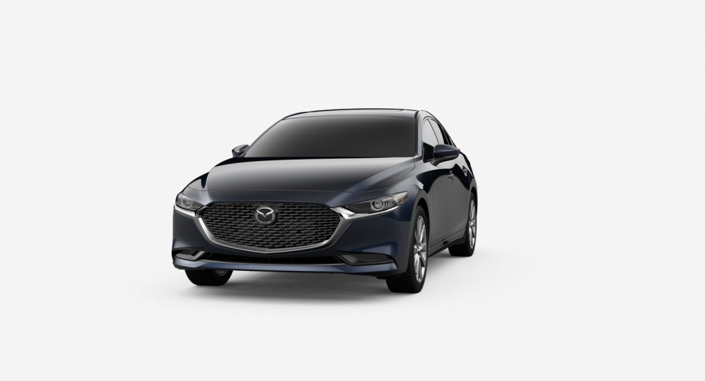 Deep Crystal Blue Mica 2019 Mazda3 Exterior on White Background