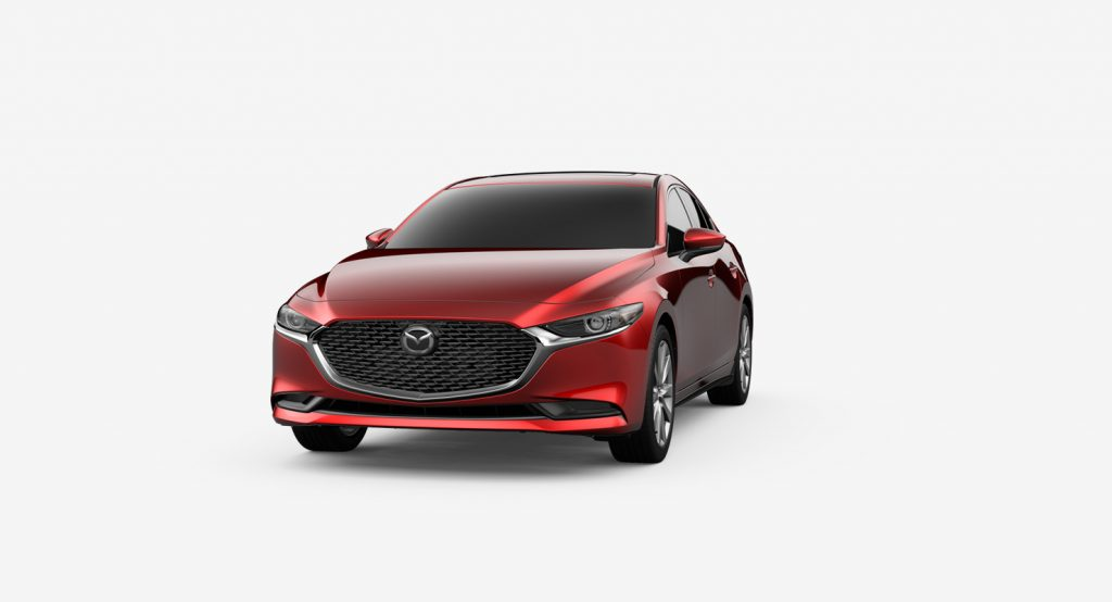 Soul Red Crystal Metallic 2019 Mazda3 Exterior on White Background