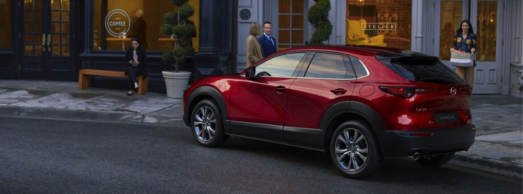 Red 2020 Mazda CX-30 Rear Exterior on a City Street