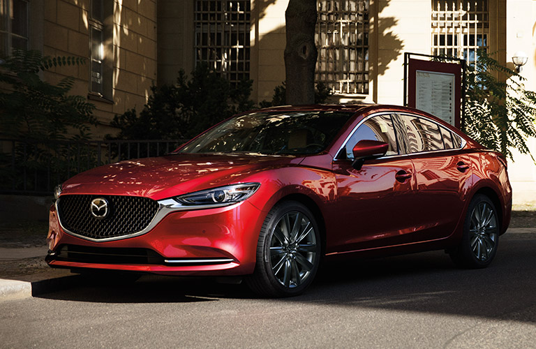 Red 2019 Mazda6 on a City Street
