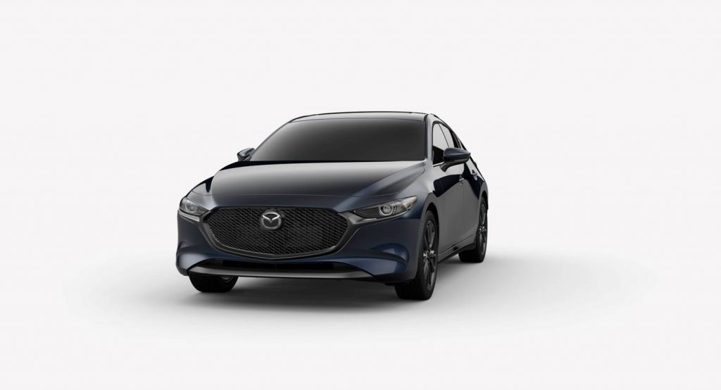 Deep Crystal Blue Mica 2019 Mazda3 Hatchback on White Background