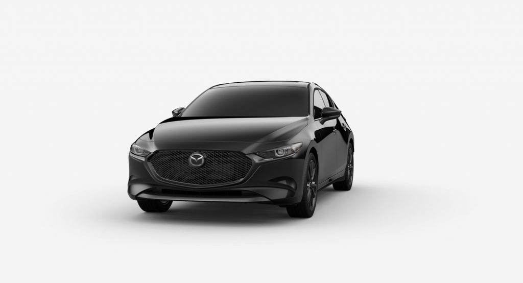 Jet Black Mica 2019 Mazda3 Hatchback on White Background