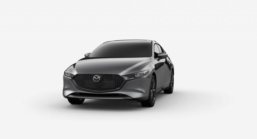 Machine Gray Metallic 2019 Mazda3 Hatchback on White Background