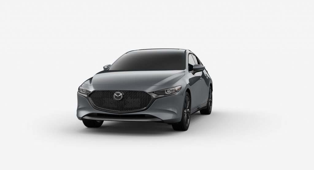Polymetal Gray Mica 2019 Mazda3 Hatchback on White Background