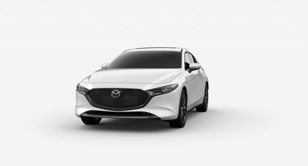 Snowflake White Pearl Mica 2019 Mazda3 Hatchback on White Background