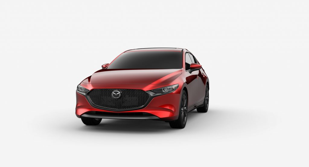 Soul Red Crystal Metallic 2019 Mazda3 Hatchback on White Background