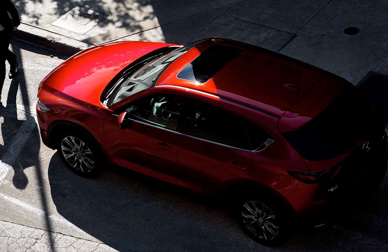 Overhead View of Red 2019 Mazda CX-5 on City Street
