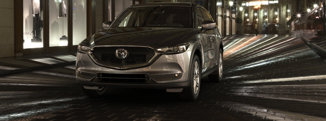 Gray 2019 Mazda CX-5 on City Street at Night