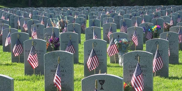 Military Cemetery with American Flags