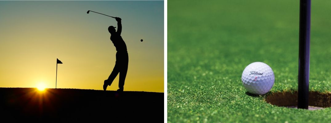 Man Hitting a Golf Ball with Pin in Background at Sunset and a Close Up of a Titleist Ball Next to a Hole