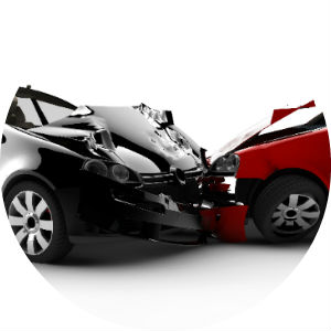 Black and Red Cars in a Crash on White Background