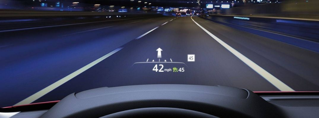 View of the Road at Night with Active Driving Display in a Mazda CX-5