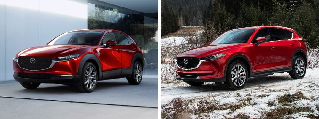 Red 2020 Mazda CX-30 in a Driveway vs Red 2019 Mazda CX-5 in a Snowy Field