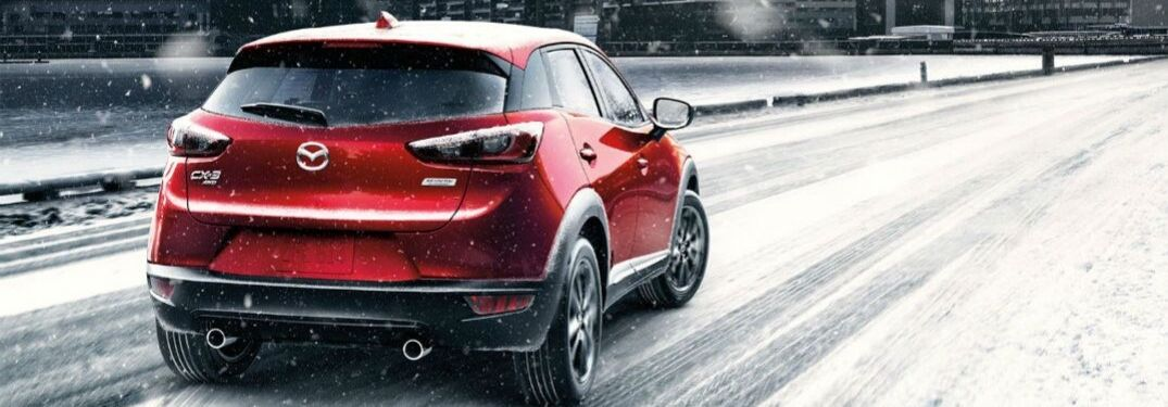 Mazda model on snowy road