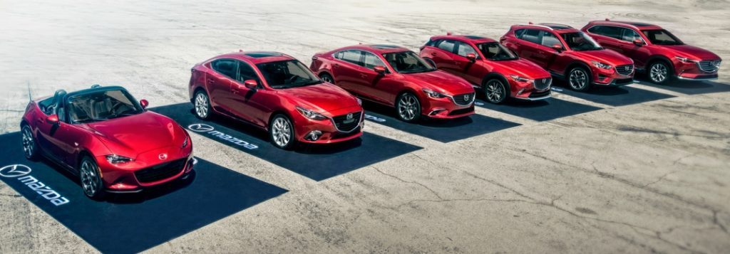 2019 Mazda lineup on pavement