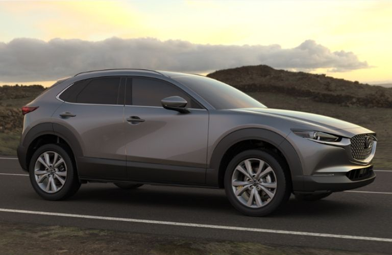 2020 Mazda CX-30 on road in rocky area