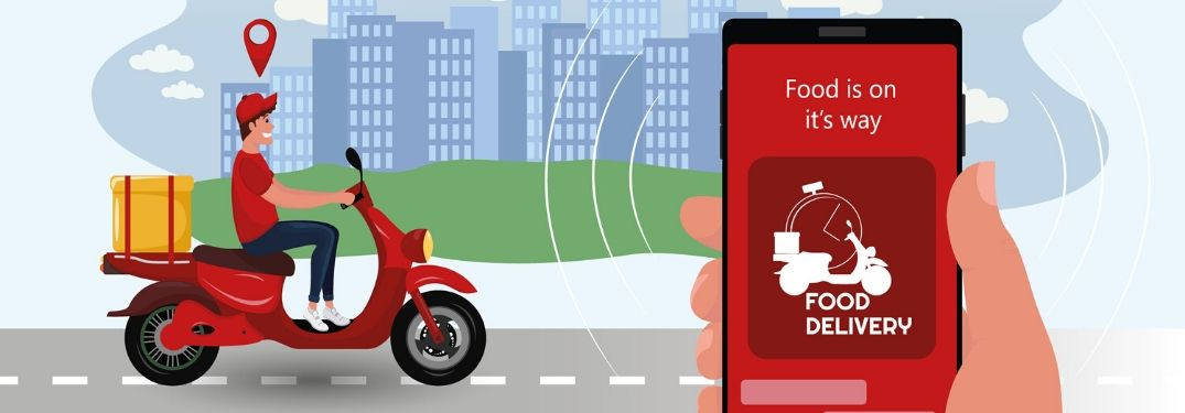 """Food is on it's way, Food Delivery"" on phone app with delivery man on scooter"