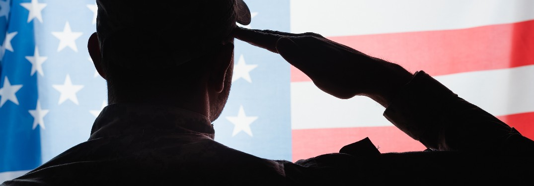 Military Personnel saluting the American Flag