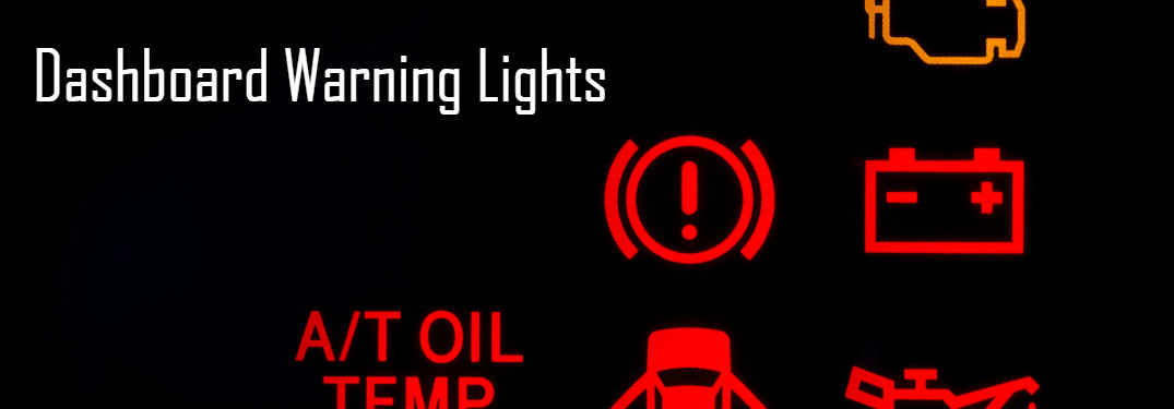 Dashboard Warning Lights written on Black Background with Red Indicators