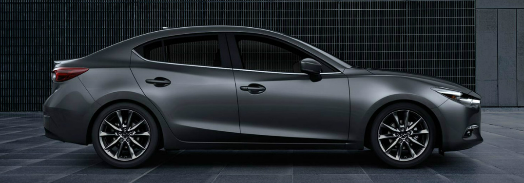 Side View of 2018 Mazda3 Sedan with Grey Exterior