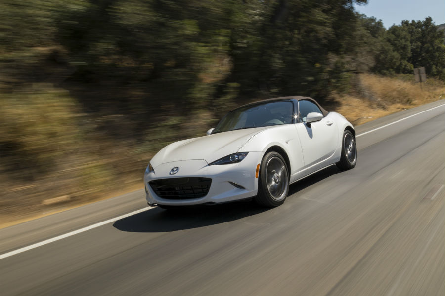 2019-Mazda-MX-5-Miata-White-Exterior-Driver-Side-Front-Angle