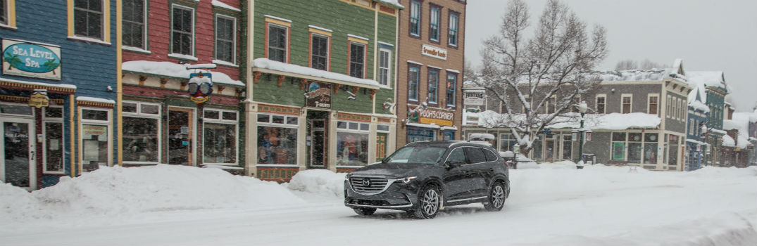 2019 Mazda CX-9 Driving Through Small Town Snow