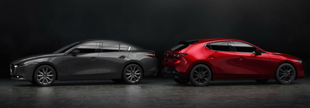 2019 Mazda3 sedan and hatchback parked next to each other