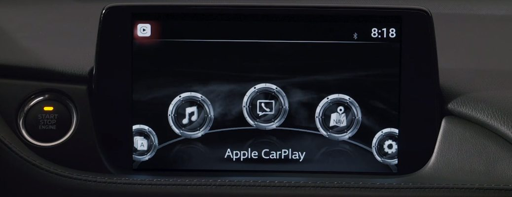 Apple CarPlay on the infotainment system in a Mazda vehicle