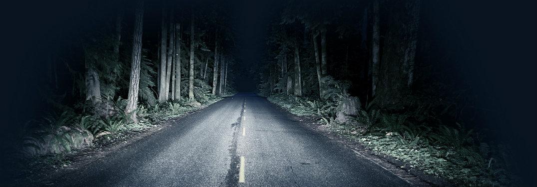 dark rural road at night