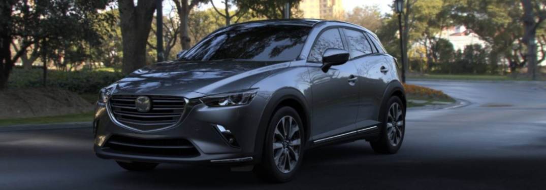 2019 Mazda CX-3 parked on a woodland trail