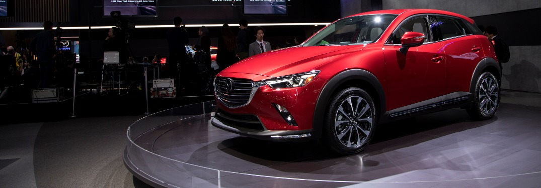2019 Mazda CX-3 being shown on a stage