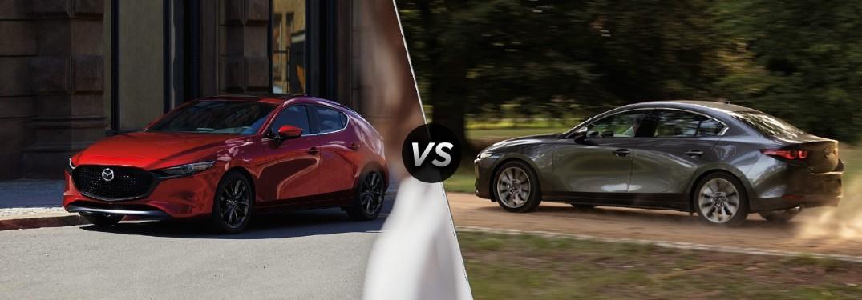 A red 2020 Mazda3 Hatchback compared to a gray 2020 Mazda3 Sedan.
