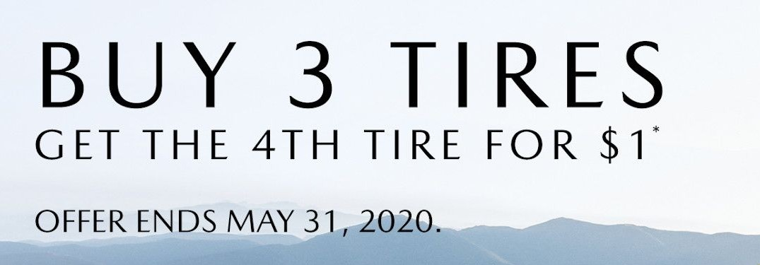 """A Mazda tire special image with the caption """"Buy 3 Tires get the 4th Tire for $1"""" in front of mountains in the distance."""