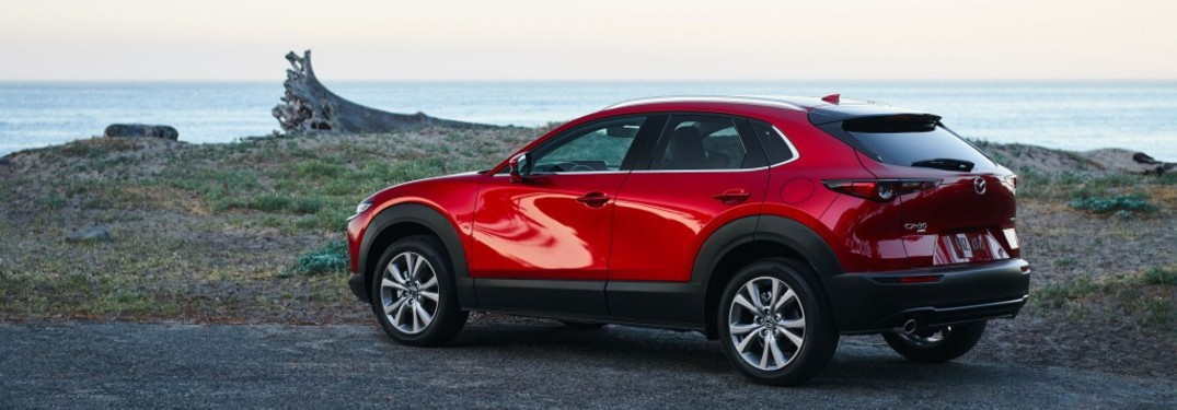 The rear and side of a red 2021 Mazda CX-30 parked on the coast.
