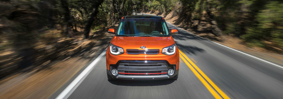 2018 Kia Soul driving fast on country road near Swansea MA