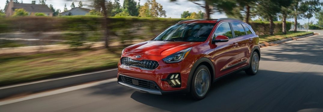 2020 Kia Niro driving on the road front view